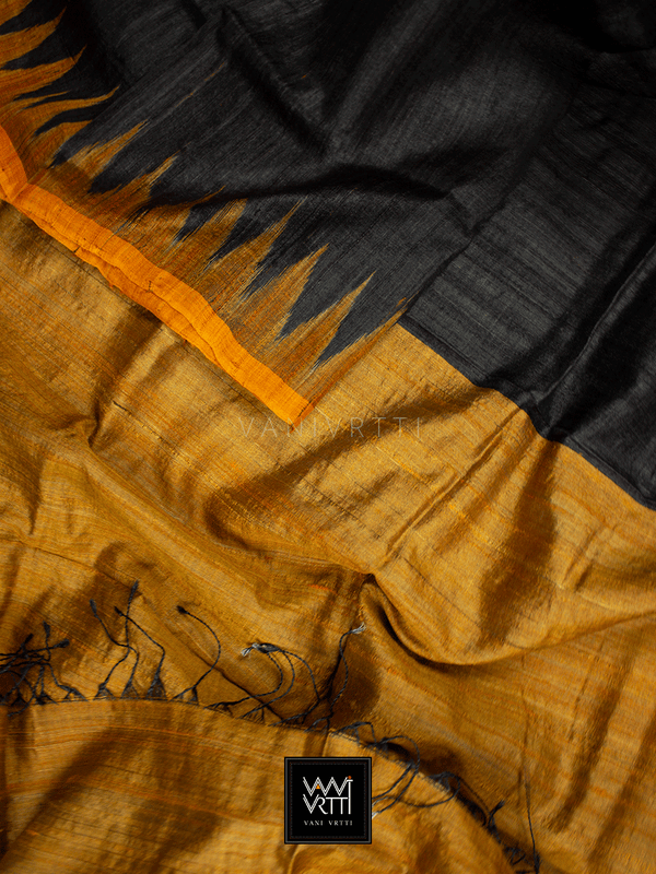 Black Orange Antara Khadi Tussar Silk Saree