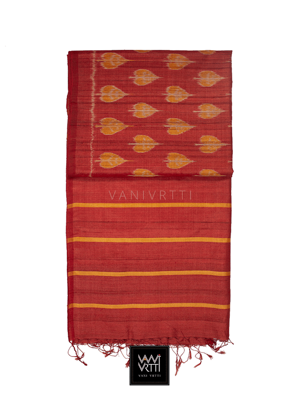 Red Orange Peepal Ikat Khadi Tussar Silk Saree