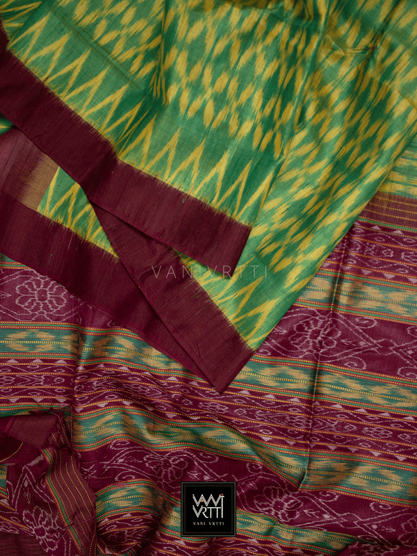 Leaf Green Coffee lily Ikat Handspun Tussar Silk Saree