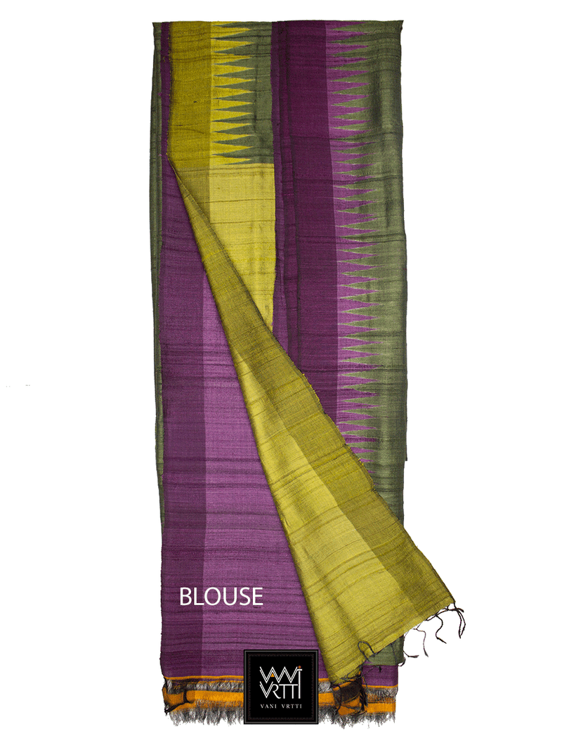Moss Green Purple Lime Antara Khadi Tussar Silk Saree