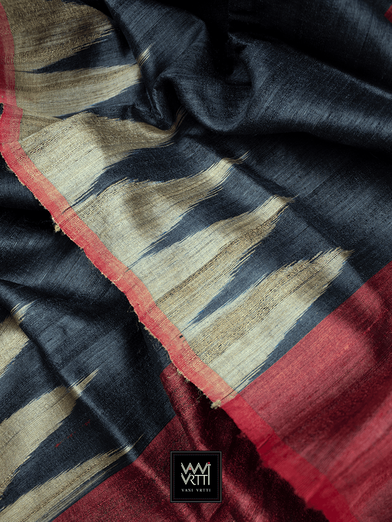 Black Natural Antara Khadi Tussar Silk Saree