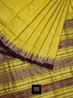 Yellow Purple Nadi Khadi Tussar Silk Saree