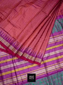 Red Magenta Parijat Khadi Tussar Silk Saree