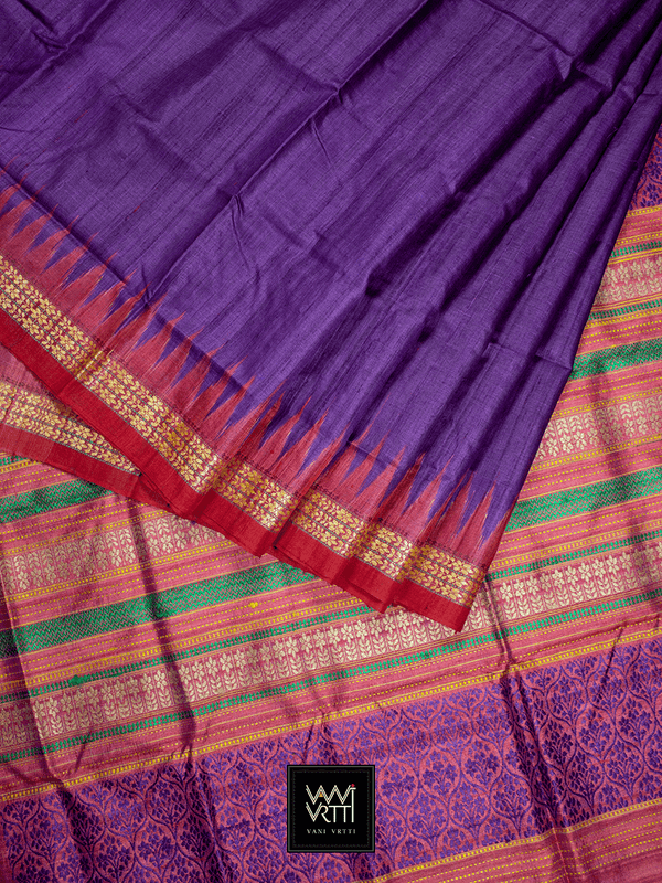 Baingani Red Parijat Khadi Tussar Silk Saree