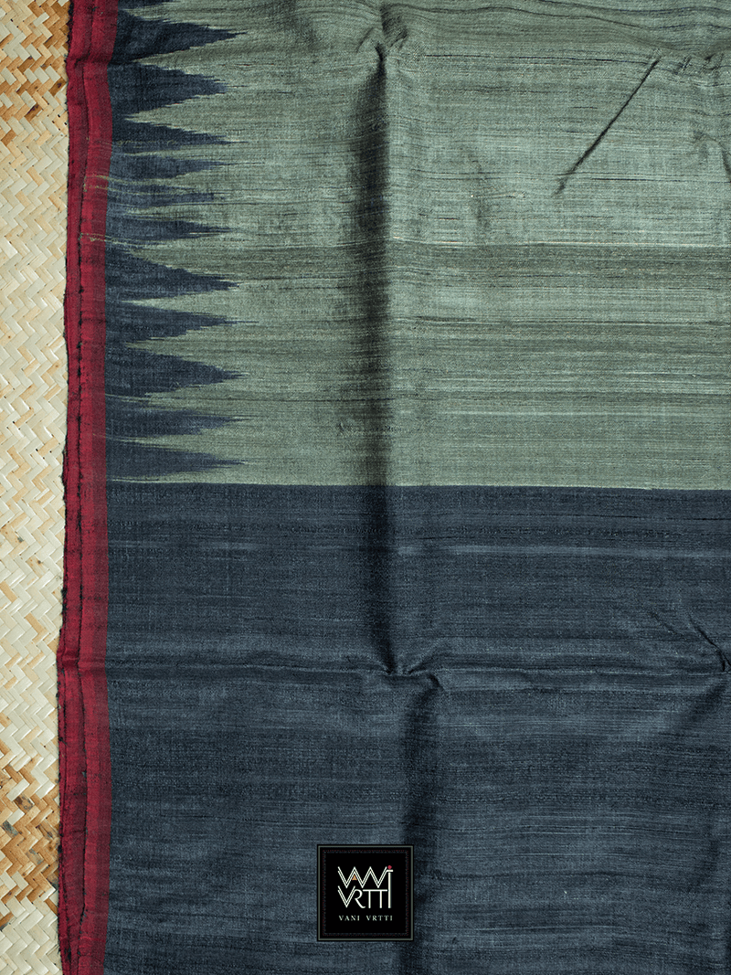 Khaki Green Black Antara Khadi Tussar Silk Saree