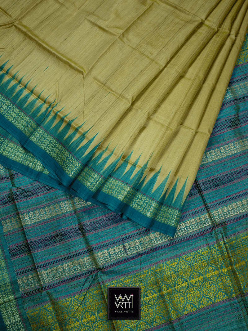 Yellowish Beige Green Parijat Khadi Tussar Silk Saree