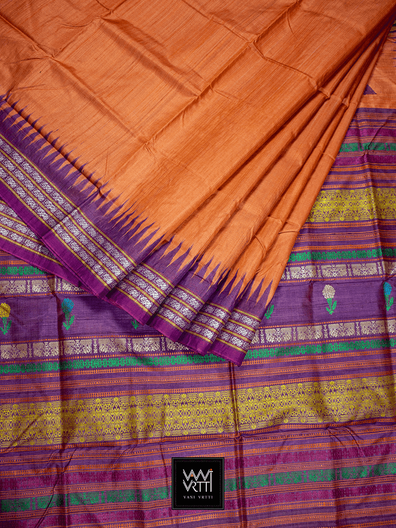 Orange Purple Marigold Airavat Khadi Tussar Silk Saree