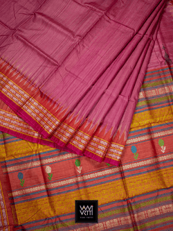 Onion Pink Red Marigold Airavat Khadi Tussar Silk Saree