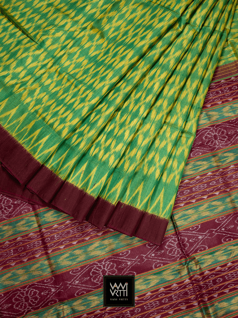 Green Yellow Coffee Basant Ikkat Khadi Tussar Silk Saree