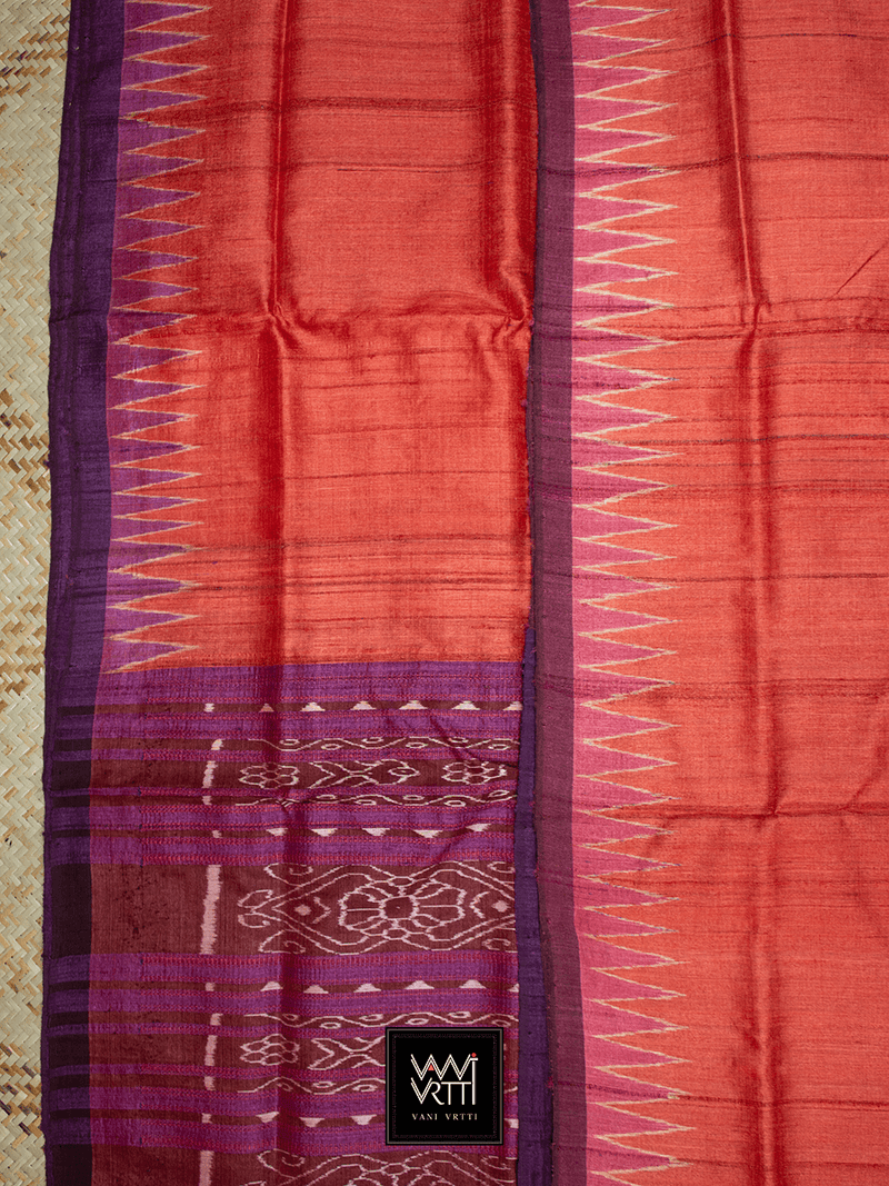 Tomato Red Pink Purple Antara Khadi Tussar Silk Saree