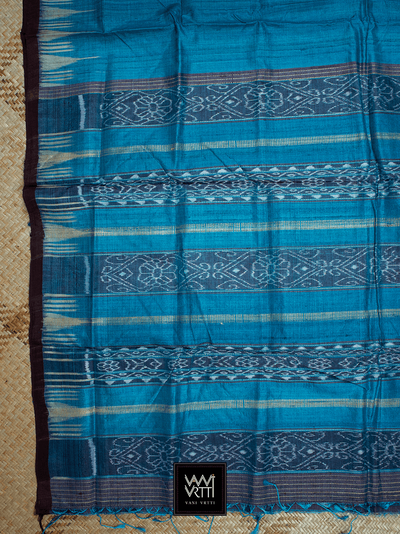 Deep Copper Sulphate Blue Nadi Khadi Tussar Silk Saree