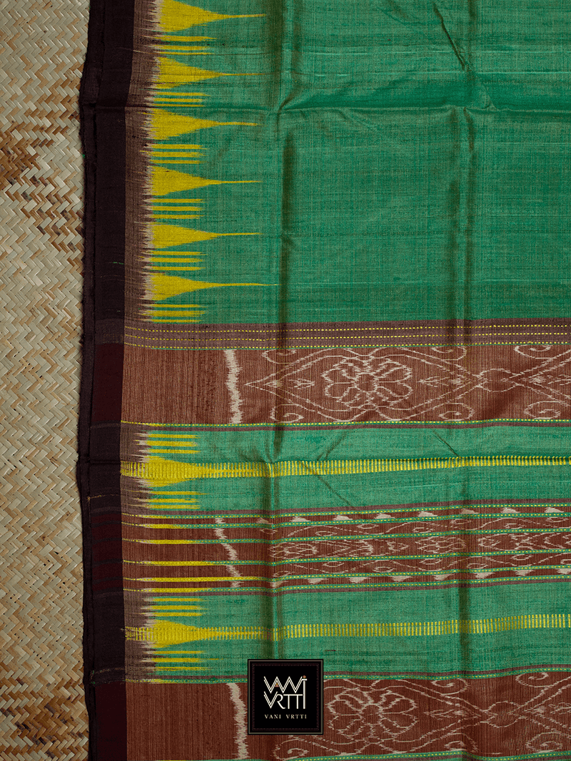 Metallic Green Yellow Nadi Khadi Tussar Silk Saree