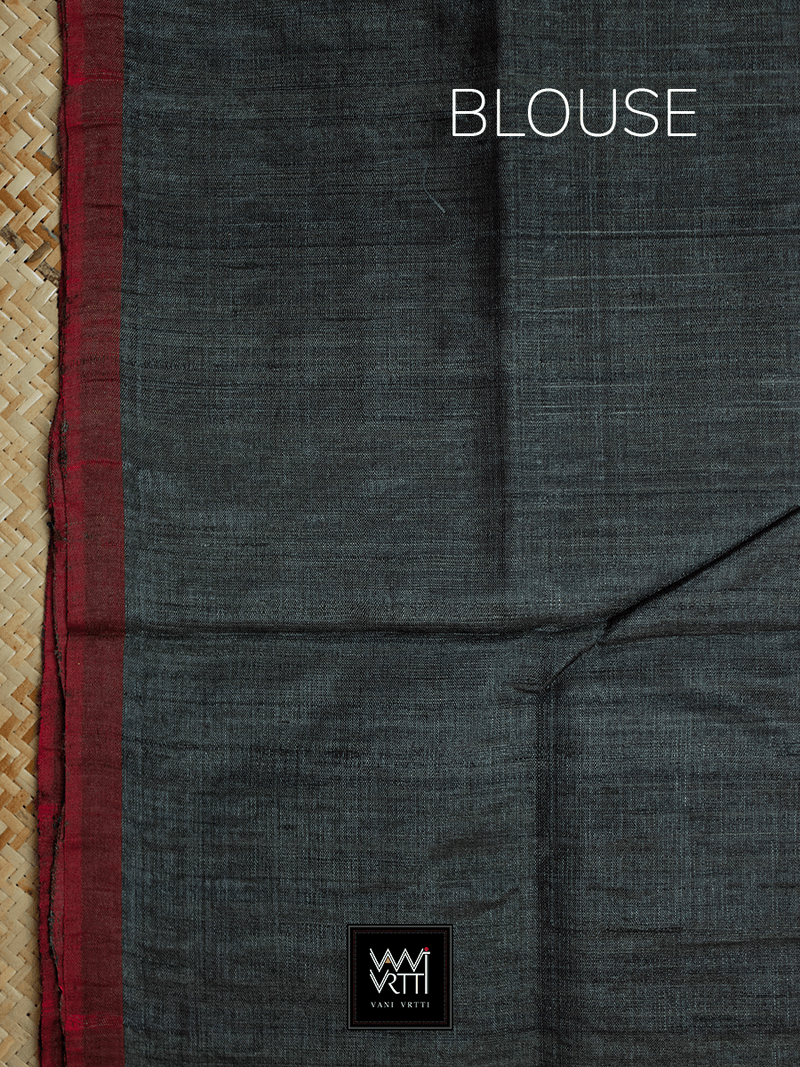 Black Aziz Khadi Tussar Silk Saree