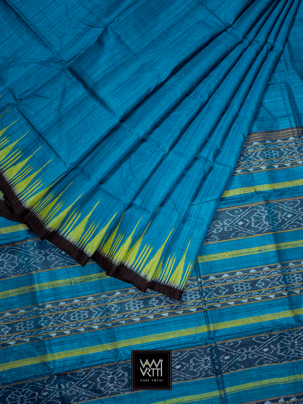 Copper Sulphate Blue Yellow Nadi Khadi Tussar Silk Saree