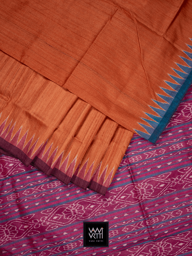 Orange Blue Pink Antara Khadi Tussar Silk Saree