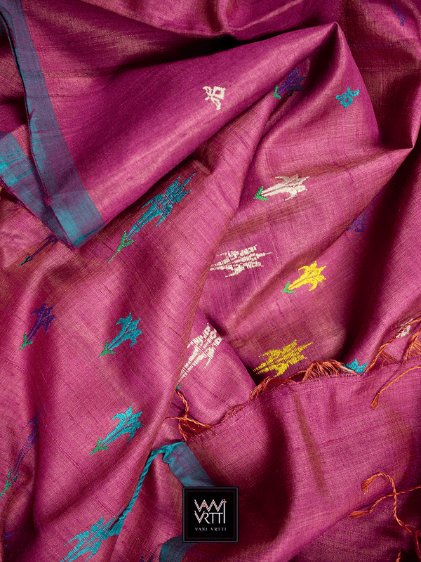 Antique Pink Swarna Champa Khadi Tussar Silk Saree