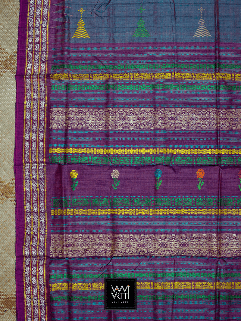 Space Blue Purple Marigold Airavat Khadi Tussar Silk Saree