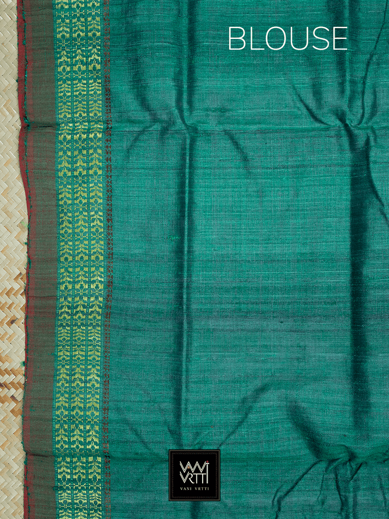 Royal Blue Emerald Green Parijat Khadi Tussar Silk Saree