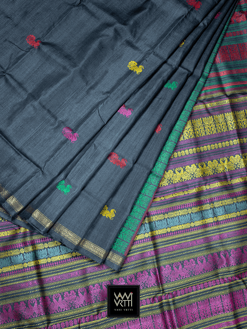 Slate Black Peacock Jewelled Color Milan Barsat Double Palla Khadi Tussar Silk Saree