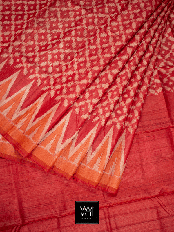 Red Lily Ikkat Khadi Tussar Silk Saree