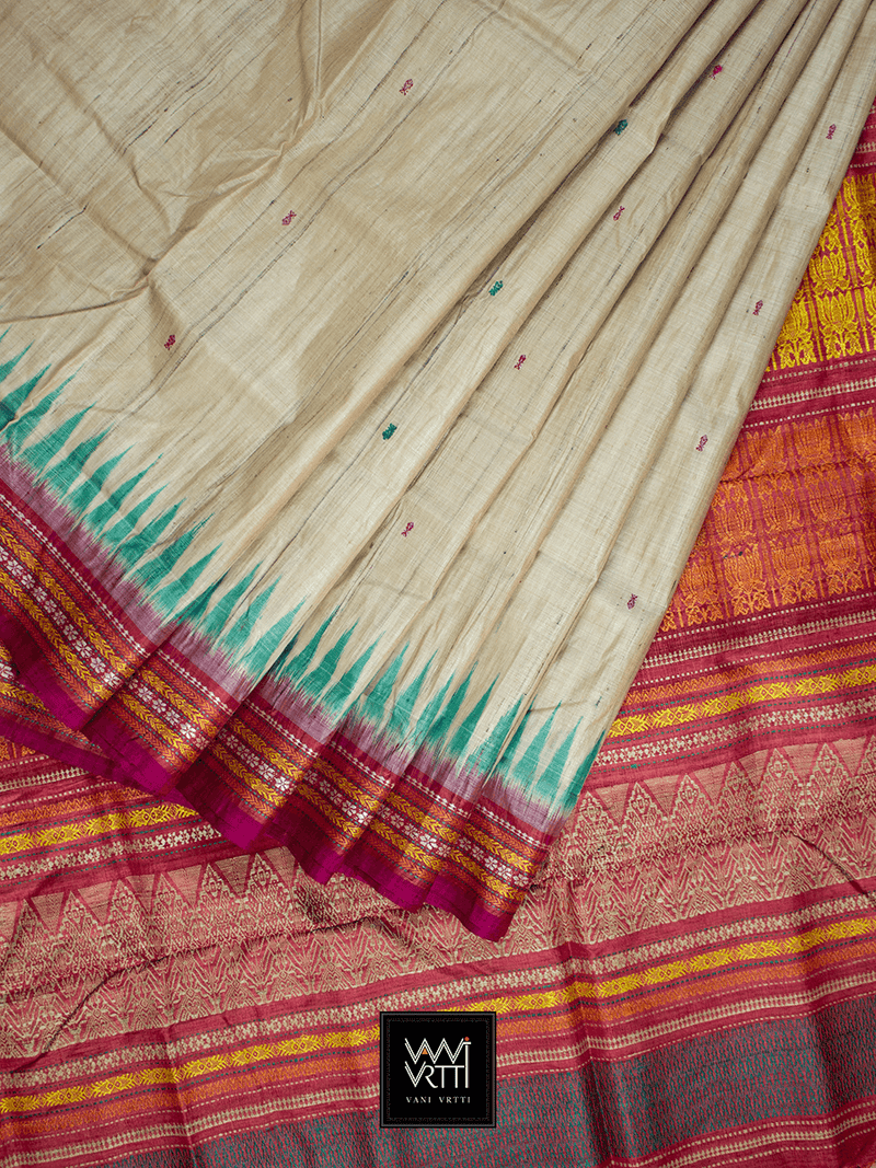 Off White Green Red ANANTA KHADI TUSSAR SILK SAREE