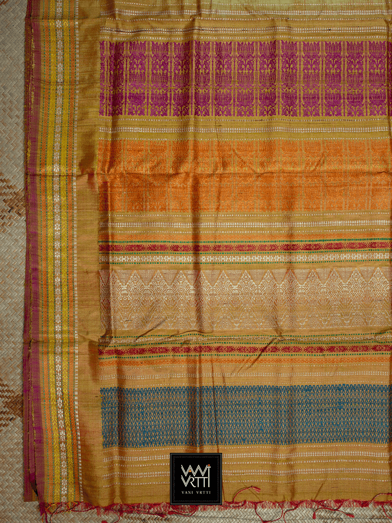Off White Lemon Green Pink ANANTA KHADI TUSSAR SILK SAREE