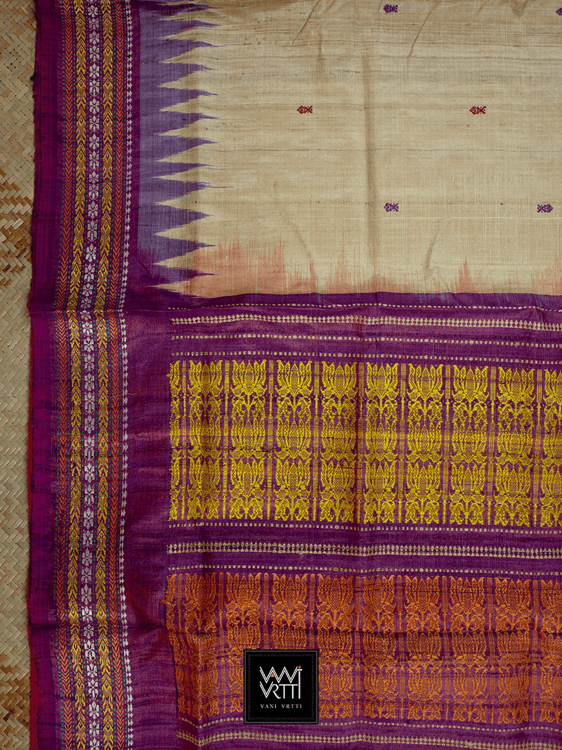 Off White Purple Red ANANTA KHADI TUSSAR SILK SAREE