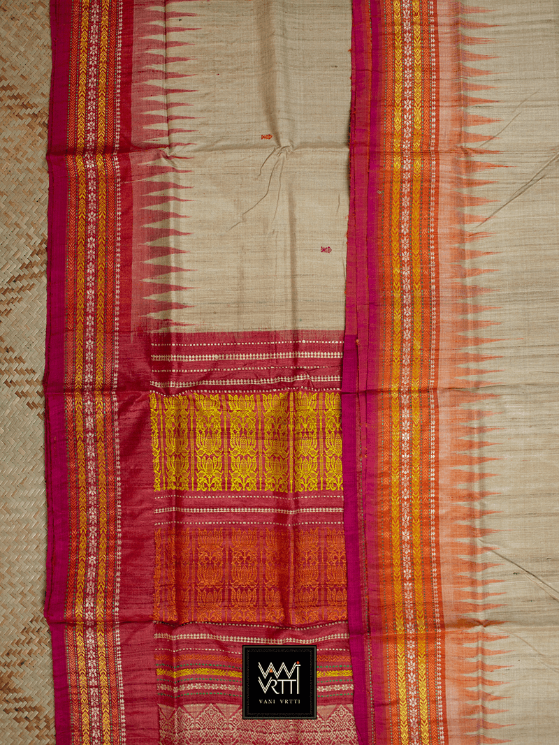 Off White Red Orange Ananta Khadi Tussar Silk Saree
