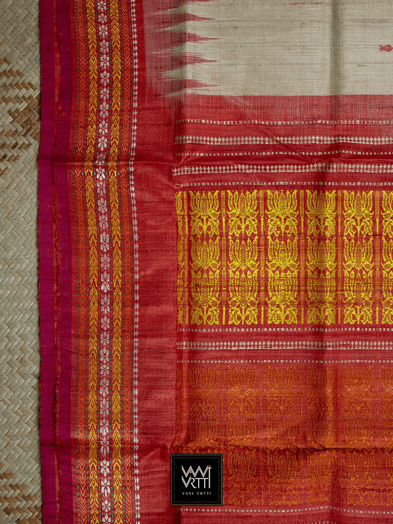 Off White Red ANANTA KHADI TUSSAR SILK SAREE