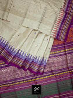 Off White Purple ANANTA KHADI TUSSAR SILK SAREE