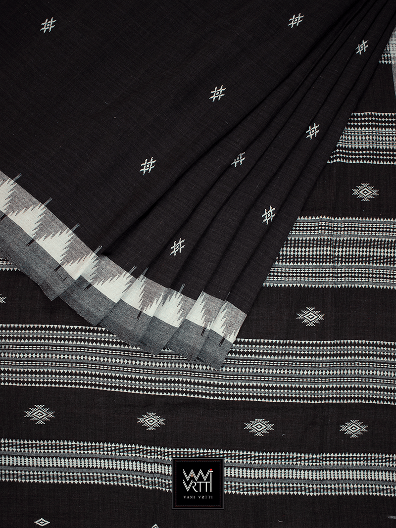 Deep Coffee Natural Dyed Phoda Kumbha Handwoven Cotton Kotpad Saree
