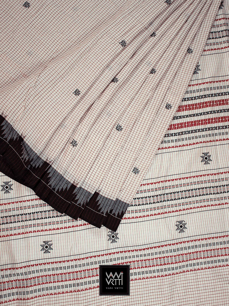 Off White Black Natural Dyed Phoda Kumbha Handwoven Cotton Kotpad Saree