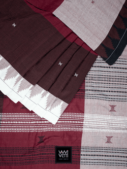 Madder Red Brown Multi Coloured Natural Dyed Phoda Kumbha Handwoven Cotton Kotpad Saree