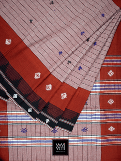 Onion Pink Madder Red Natural Dyed Phoda Kumbha Handwoven Cotton Kotpad Saree