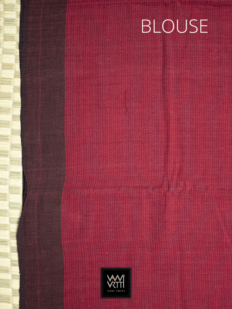 Madder Red Black Natural Dyed Phoda Kumbha Handwoven Cotton Kotpad Saree