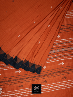 Rust Orange Black Natural Dyed Phoda Kumbha Handwoven Cotton Kotpad Saree