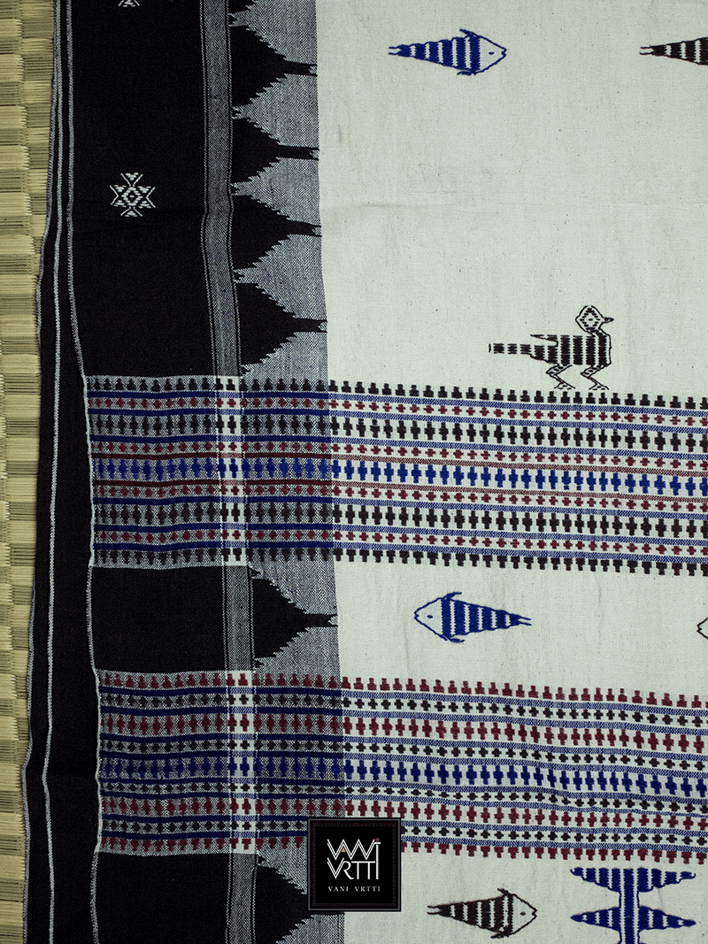 Off White Deep Coffee Blue Tribal Design Natural Dyed Phoda Kumbha Handwoven Cotton Kotpad Saree