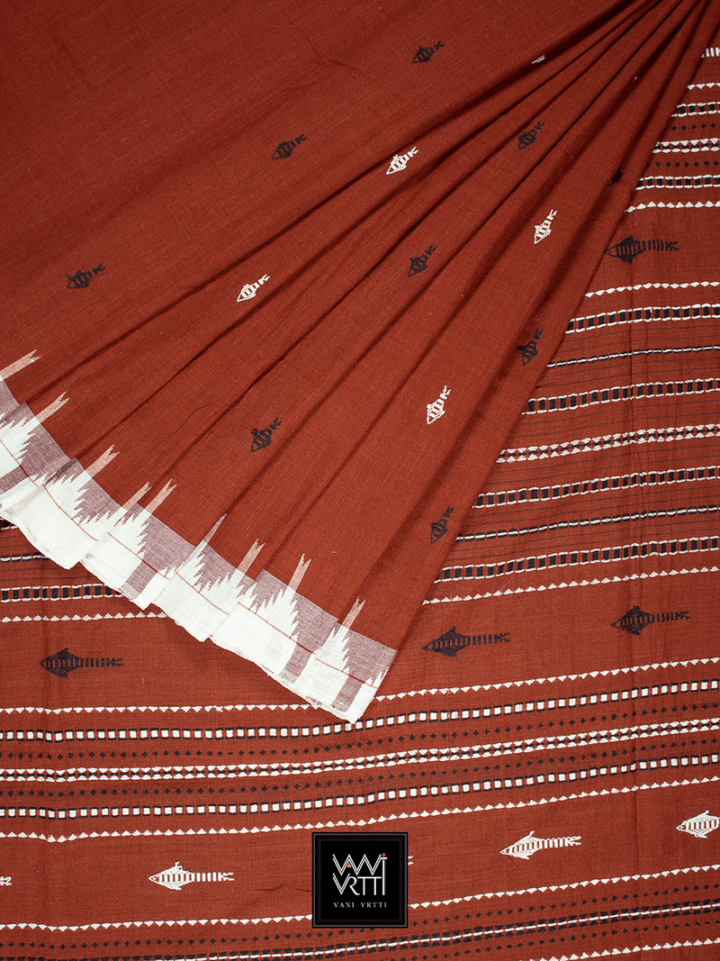 Deep Rust Orange Natural Dyed Phoda Kumbha Handwoven Cotton Kotpad Saree