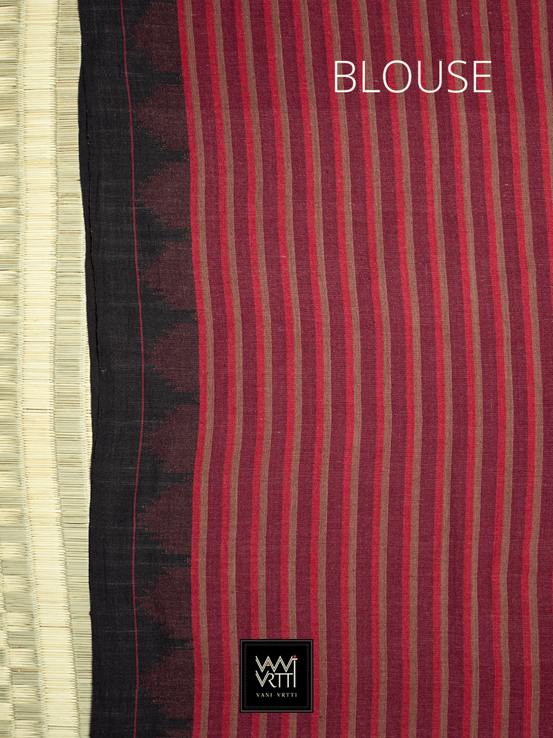 Madder Red Black Striped Natural Dyed Phoda Kumbha Handwoven Cotton Kotpad Saree