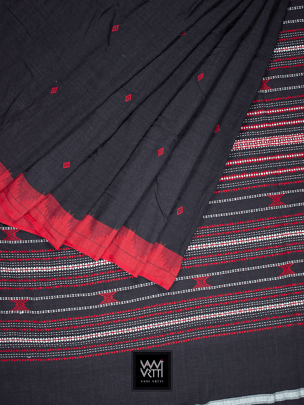 Black Red Natural Dyed Phoda Kumbha Handwoven Cotton Kotpad Saree