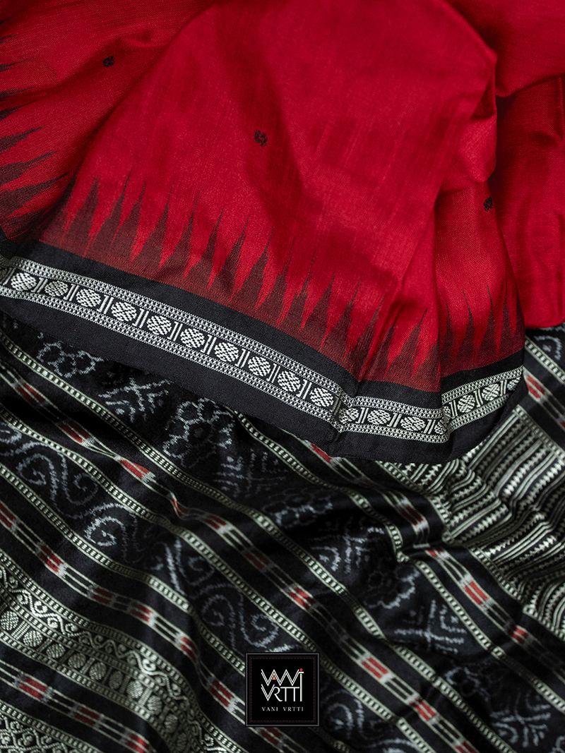 Red Black Ek Phulia Rudraksh Ikkat Mulberry Silk Saree