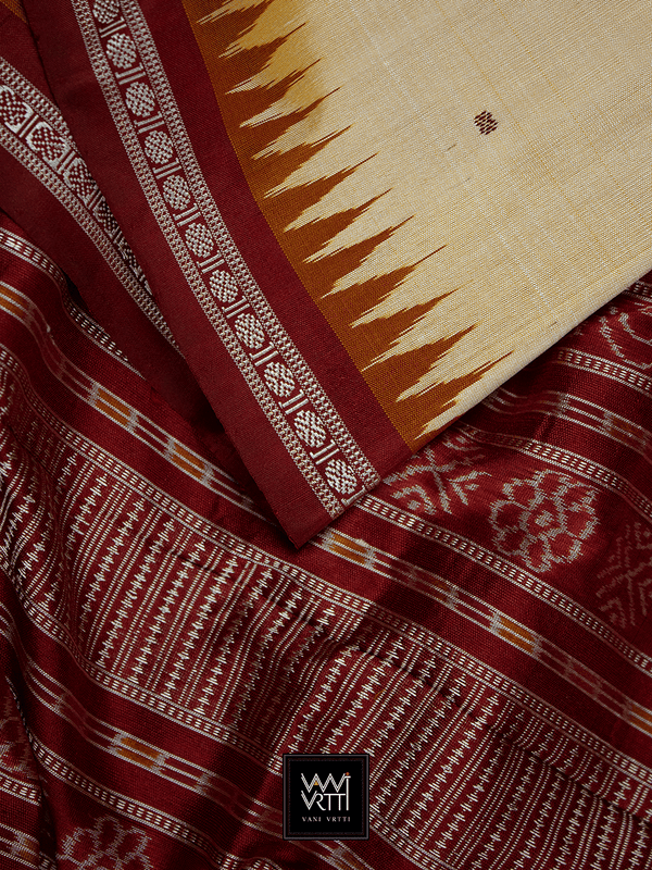 Light Peach Maroon Ek Phulia Rudraksh Ikkat Mulberry Silk Saree