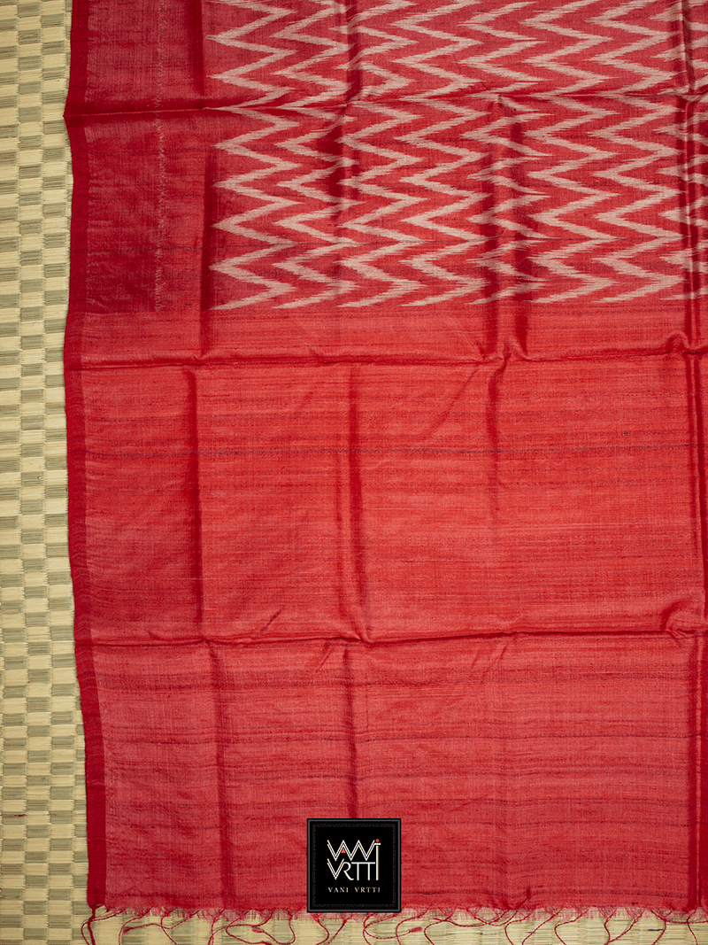 Red Aziz Khadi Tussar Silk Saree