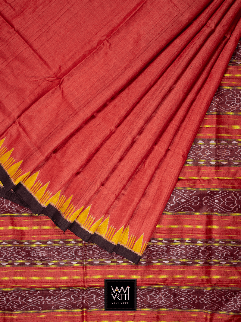 Orangish Red Yellow Nadi Khadi Tussar Silk Saree