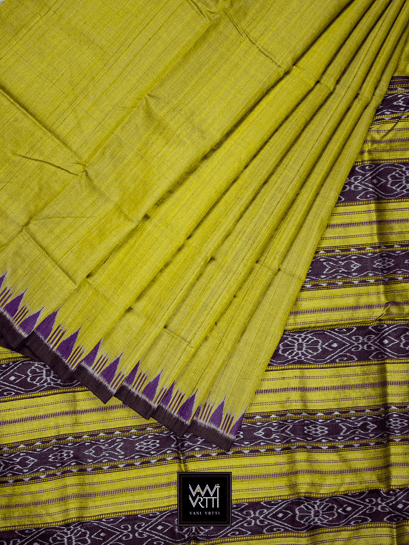 Golden Yellow Purple NADI KHADI TUSSAR SILK SAREE