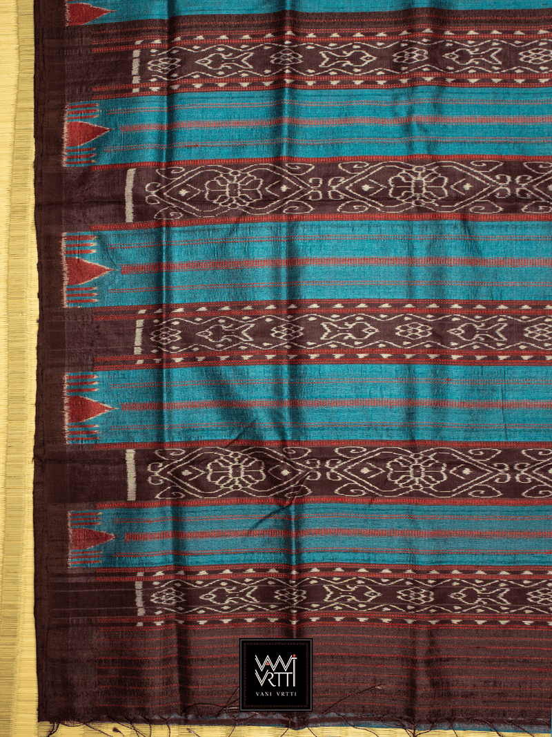 Peacock Blue Red NADI KHADI TUSSAR SILK SAREE