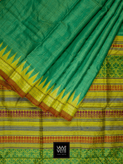 Metallic Green Yellow Parijat Khadi Tussar Silk Saree