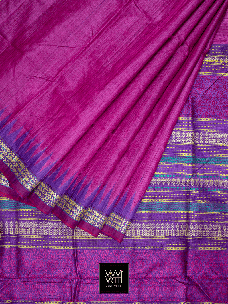 Rani Pink Purple PARIJAT KHADI TUSSAR SILK SAREE