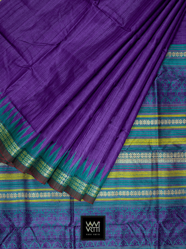 Purple Deep Teal PARIJAT KHADI TUSSAR SILK SAREE