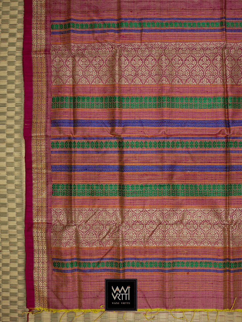 Metallic Pink PARIJAT KHADI TUSSAR SILK SAREE